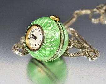 Liema Guilloche Enamel Ball Watch Pendant Necklace, Art Deco Silver Swiss Watch, Watch Fob Pendant, Green Enamel, Art Deco Jewelry