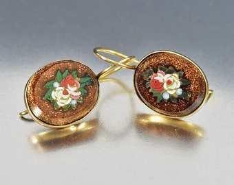 Antique Pietra Dura Micro Mosaic Earrings, Victorian 9ct Gold Goldstone Earrings, Micro Mosaic Earrings, Dangle Earrings, Antique Jewelry