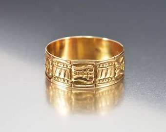 Victorian Antique Wedding Band Ring, 10K Rose Gold Ring, Wide Engraved Ring, Eternity Band, Antique Jewelry, Love Token Ring, Wedding Ring
