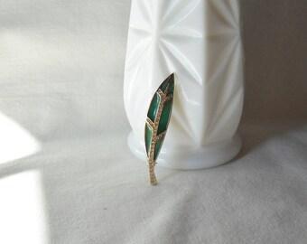 Vintage Brooch Monet Leaf Brooch Rhinestone Enamel Leaf Pin