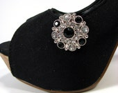 Shoe Clips Black and Clear Rhinestone Cluster Round Shoeclips 1 Pair Prom Wedding Jewelry for your Shoes