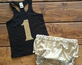 1st Birthday Outfit, Girl Birthday Shirt, Cake Smash Outfit, Girl Birthday Outfit, Gold 1st Birthday, Gold and Black, Birthday Bloomers