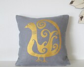 Pillow Cover - Cushion Cover - Bird in Gold on Gray Linen - 12 x 12  inches