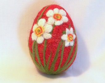 Large Needle Felted Easter Egg - Daffodils Narcissi on Red Sparkly Egg