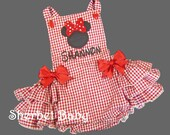Minnie Inspired Handmade Baby Girl Ruffled Sunsuit in Red Gingham or Your Color Choice Fully Lined Girl Baby Toddler