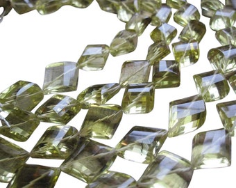AAA Lemon Topaz Beads, Faceted Diamond, Faceted Rhombus Shape, Yellow Topaz, SKU 589