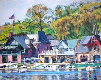 Philadelphia Boathouse Row Painting Schuylkill River Art Print by Gwen Meyerson