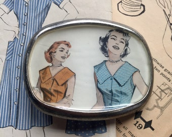 sewing pattern belt buckle repurposed vintage image pewter buckle women's fashion eco gift retro kitsch