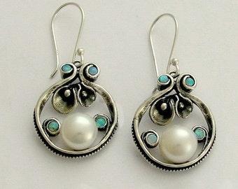 Botanical earrings, Sterling silver earrings, pearl earrings, blue opal earrings, gemstone earrings, pearl earrings - Suddenly E2151