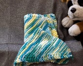 Knitted Cotton Dish Scrub Cloths, Ocean Waves Color