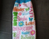 """Smile,Love,Imagine"""" Double Hanging Crocheted Kitchen Towel/Double Hanging Towel/Crocheted Top Kitchen Towel/Kitchen Towel/Everyday Towel"""