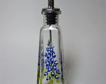 Olive oil bottle small hand painted with Texas Bluebonnets