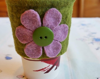 Coffee Cozy from Green and Pink Felted Wool