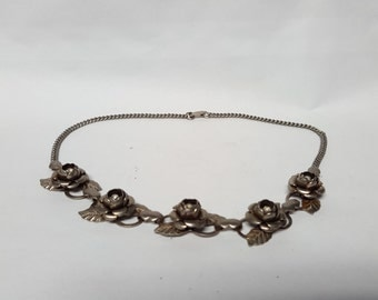 Choker Necklace Silver Antique Vintage Dimensional Flowers Roses