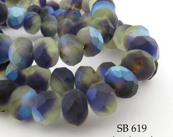 8mm Czech Glass Beads Faceted Rondelle, Semi Matte, Translucent, 8x6mm Night Fog (SB 619) 12 pcs BlueEchoBeads