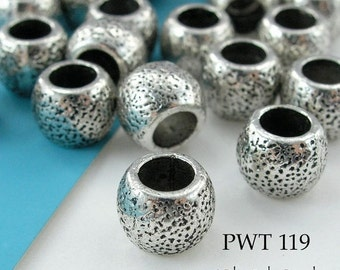 ON SALE Large Hole Beads Spacer Pewter 8mm Textured Dots (PWT 119) 8 pcs