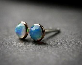 Bezel set 4mm faceted opal stud earrings set in solid 14k rose gold