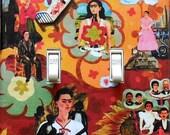 4 CHOICES of Frida Double Switchplates w/ MATCHING Screws- Frida altered art Frida photographs Frida art prints Frida light switch cover (P)
