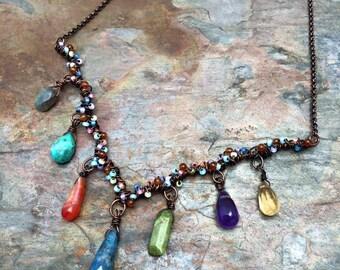 Fairytale Inspired Gemstone Necklace, Ready to Ship, Carnelian, Amethyst, Topaz, Labradorite Gemstones