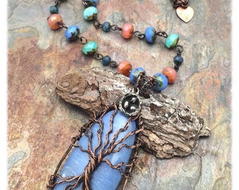 Angelite Blue Tree of Life with Nest, Copper Wire Wrapped, Gemstone, Czech Glass, Statement Necklace