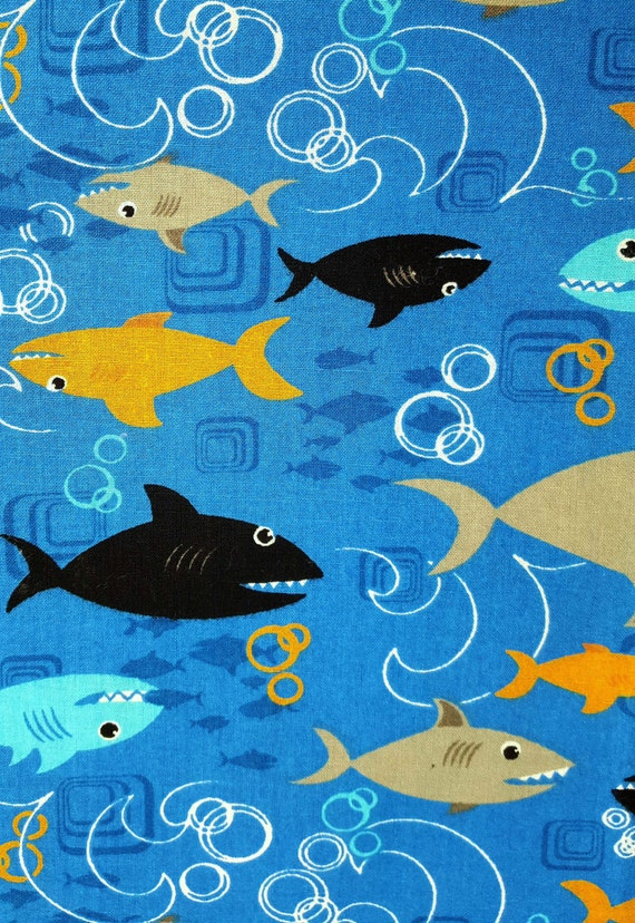Cotton fabric sharks on blue bright colors bubbles half yard for Bright childrens fabric
