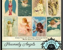On Sale Angels Digital Collage Sheet,  Angel Tag Set ACEO Size, ATC, Digi Stamp, Gift Tags, Clipart Tags