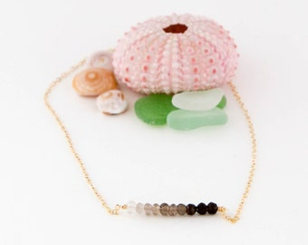 Ombre Gemstone Necklace - Handmade 14K Gold Filled