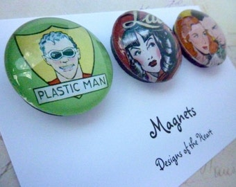Round Glass Magnet set - Comic Collection