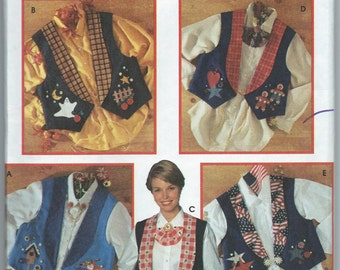 Simplicity 9657 Misses' Vest with Jewelry and Permanent Ink Transfers for Appliques - Size 12-14-16 or 18-20-22 - Uncut Pattern