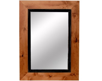Over Mantle Two Tone Wood Framed Mirror