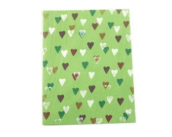 100% Recycled Handprinted Green Heart Notebook