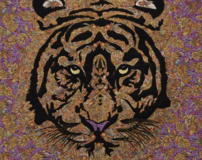 The Tiger in the Rajahs Garden art wall quilt by Cindy Watkins