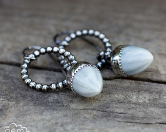 Sterling silver hoop earrings with cermaic cabochons - Droplet -