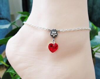 Silver Anklets Heart Anklet Swarovski Crystal Anklet Chain Ankle Bracelet Beach Jewelry Women's Anklet