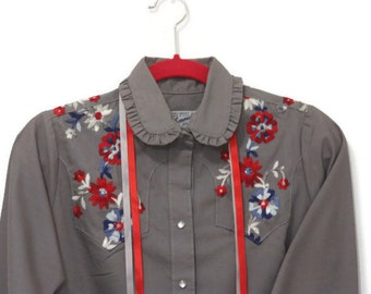 Vintage Rockmount Ranch Wear Ladies Shirt, Embroidered Western Shirt, Rockabilly Shirt, Gray Western Shirt, Ladies Western Shirt,