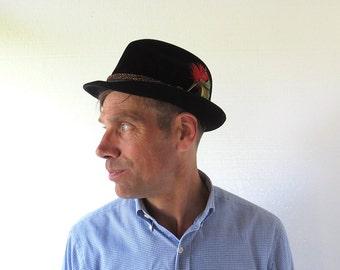 Vintage 1950s Hat | Alpine Hat | Black Fedora | Portis | Size 7 1/8