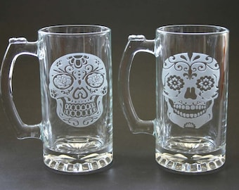 Sugar Skull Etched Beer Mugs Engraved Day of the Dead Beer Glasses Stein