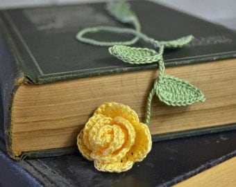 Yellow Rose Handmade Crocheted Flower Bookmark