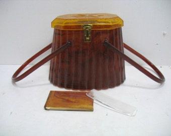 Vintage Elsa Mfg. Co. Lucite Purse Handbag w/ Memo Pad Tortoise Shell Amber Ribbed Oval