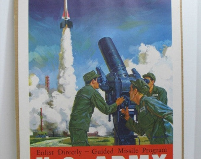 Vintage U.S. Army Specialize Missile Program Recruiting Poster, 1950s Military Guided Missile Recruiting Program