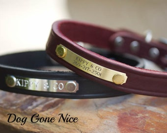 Leather Dog Collar// Personalized Dog Collar// Dog Collar// 3/4 inch Wide Collar