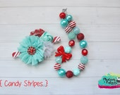 Holiday chunky necklace or baby headband set { Candy Stripes } red aqua  Candy Cane stripe Santa, Christmas, Holiday photography prop