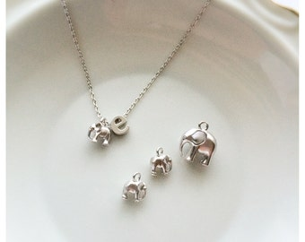 TINY Mini Elephant Necklace - 3D Mini Silver or Gold Elephant Charm Childrens Girl Necklace Flower Girl Gift Elephant Necklace Elephant