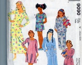 Childrens Nightgown, Nightshirt, Pajamas, Bathrobe Easy Uncut Sewing Pattern McCalls 9090 Size XSM SM 3 4 5 6