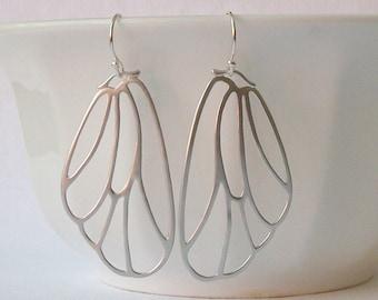 ButterFly Silver Wing Dangle Earrings, Butterfly Jewelry