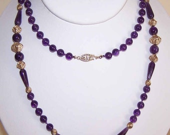 """Lovely AMETHYST Bead 30"""" Necklace with Gold Filled Findings"""