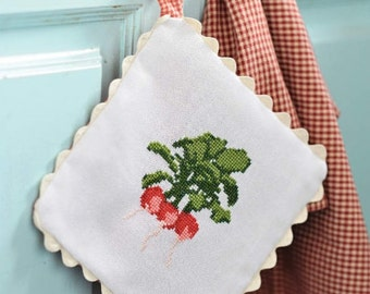 Cross stitch pattern VEGETABLES  cross stitch,needlepoint,embroidery,handmade,diy,kitchen,garden,scandinavian,radish,green,anette eriksson