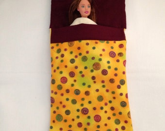 Barbie doll sleeping bag with attached pillow