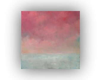 Pink and White Abstract Landscape- Small 12 x 12 Snow Sky and Clouds Oil Painting- Original Palette Knife Art on Canvas