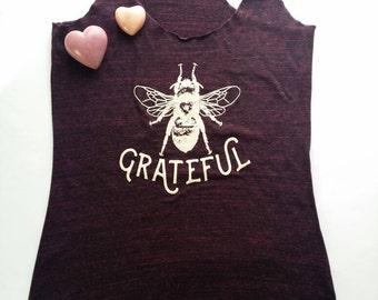 Amethyst Tank Top/Bee Grateful Tank Top/ Racerback/ Bee/ Bee Keeping/ Grateful/ Grateful Dead/ Yoga Apparel/ Homesteading/ Bee Happy/ Garden